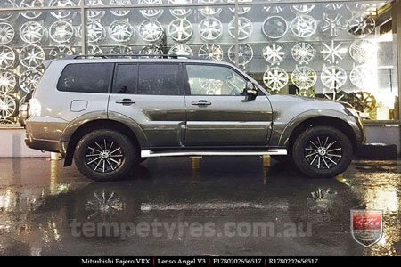 17x8.0 Lenso Black Angel V3 on MITSUBISHI PAJERO VRX