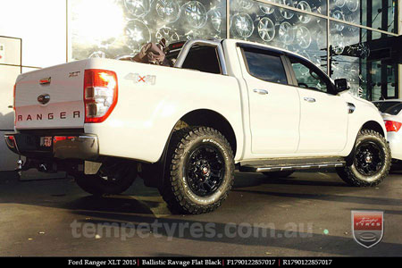 17x9.0 Ballistic Ravage Flat Black on FORD RANGER