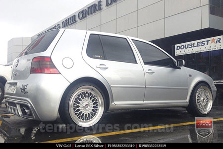 19x8.5 Lenso BSX Silver on VW GOLF
