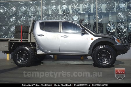 16x8.0 Gecko Steel Black on MITSUBISHI TRITON