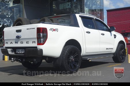 20x9.0 Ballistic Ravage Flat Black on FORD RANGER WILDTRAK