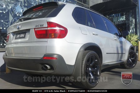 20x9.5 20x10.5 E70 4.8L Black on BMW X5