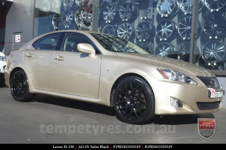 19x8.5 AG-01 Satin Black on LEXUS IS 250