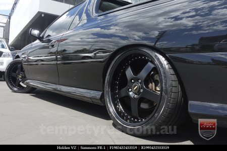 19x8.5 19x9.5 Simmons FR-1 Satin Black on HOLDEN VZ