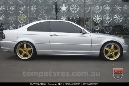 19x8.5 19x9.5 Simmons FR-1 Gold on BMW 330CI E46