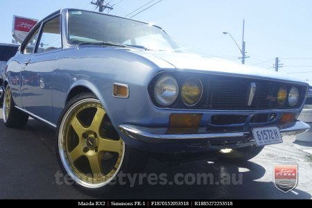 18x8.5 18x9.5 Simmons FR-1 Gold on MAZDA RX2