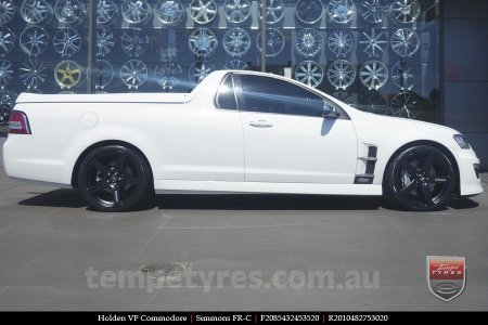 20x8.5 20x10 Simmons FR-C Full Satin Black on HOLDEN VF COMMODORE