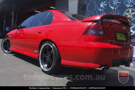 19x8.5 19x9.5 Simmons FR-1 Gloss Black on HOLDEN COMMODORE