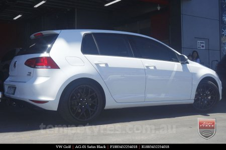 18x8.5 AG-01 Satin Black on VW GOLF