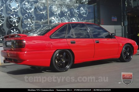 19x8.5 19x9.5 Simmons FR-1 Satin Black on HOLDEN COMMODORE