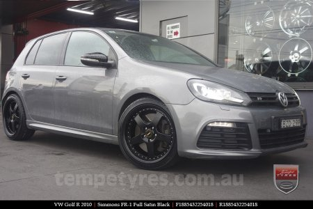 18x8.5 18x9.5 Simmons FR-1 Satin Black on VW GOLF R