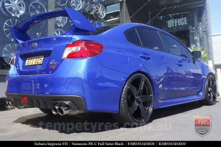 20x8.5 20x10 Simmons FR-C Full Satin Black on SUBARU IMPREZA