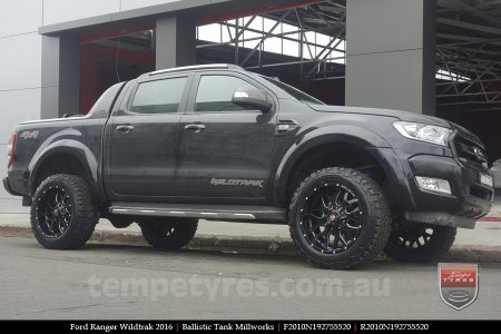 20x10 Ballistic Tank Millworks on FORD RANGER WILDTRAK