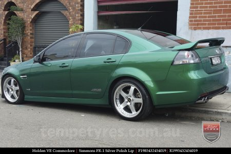 19x8.5 19x9.5 Simmons FR-1 Silver on HOLDEN COMMODORE VE