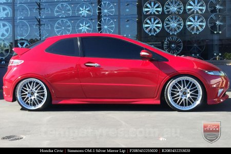 20x8.5 20x9.5 Simmons OM-1 Silver on HONDA CIVIC