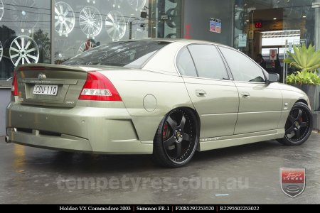 20x8.5 20x9.5 Simmons FR-1 Satin Black on HOLDEN VX COMMODORE