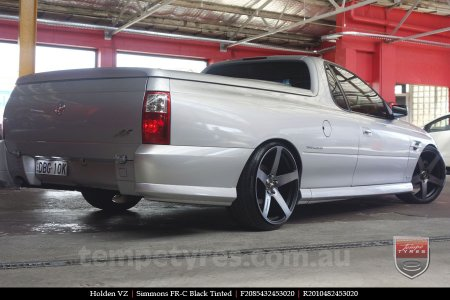 20x8.5 20x10 Simmons FR-C Black Tinted on HOLDEN VZ