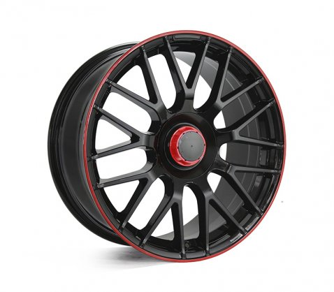 18x8.5 1261 MESH63 Black Red Lip - Style By MB